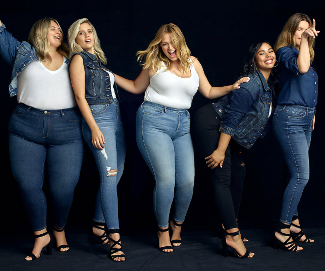 Plus size women wearing Torrid outfits with shirts, jackets, jeans, and heels.